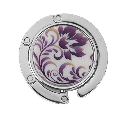 Accroche Sac Porte-sac Crochet à Table Pliant Support Rond Motif de Fleur Violet
