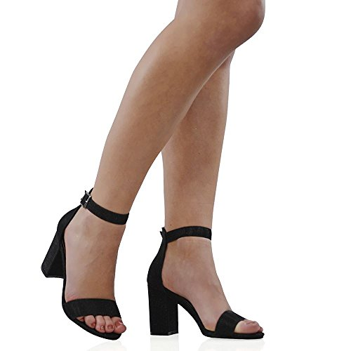 ESSEX GLAM Sandalo Donna Glitter Tacco a Blocco Cinturino Caviglia Festa Sposa Nero Glitter