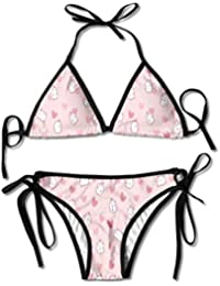 6c33faf634a3 Rghkjlp Kawaii Heart Cartoon Women's Two-Piece Suits Bikini Beach Bathing  Swimsuit