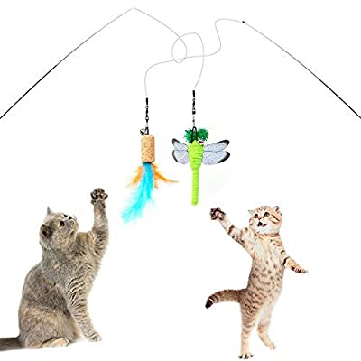 Sunnysunnie 9 Refills Cat feather toy Catnip Toys Interactive Train Best Teaser Mouse Butterfly Bird Dragonfly Catcher for Indoor Cats Kitten from YINVA