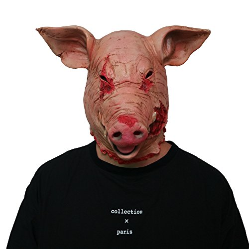 Xgsco Horror Schwein Kopf Maske, Halloween Leichte Latex ungiftig Scary Saw Pig Requisiten Maskerade Party Cosplay Kostüm Tier Maske für Männer Frauen Kinder (Zombie Pig Kostüm)