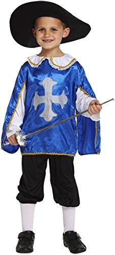 Musketiere Die 3 Kostüme (Jungen Kids Blau Musketier Drei Musketiere Welt Buch Tag Fancy Kleid Kostüm aller Altersstufen Vex)