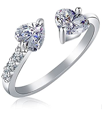 Karatcart Platinum Plated Trendy Elegant Austrian Crystal Heart Cut Adjustable Ring for Women
