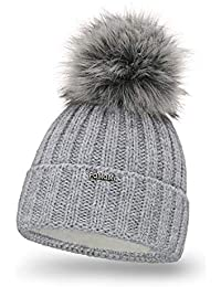 0c97ed110ced PaMaMi 18574 Bonnet d hiver en Tricot Chaud avec Pompon pour Femme Bonnet à  Pompon