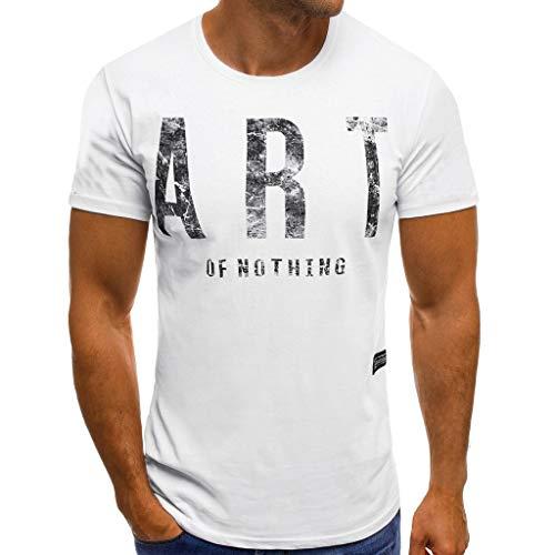 Ninasill Hot!Herren-T-Shirt mit großen Buchstaben Bedruckt, Cooles kurzärmeliges T-Shirt, atmungsaktiv, modisch, sportlich, lässig, Tank Tops Asian L= US M weiß