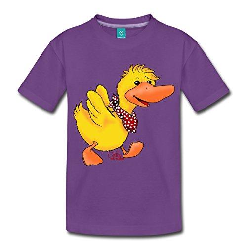 Küken Mädchen T-shirt (Spreadshirt Kleines Enten Küken auf Wanderschaft Kinder Premium T-Shirt, 98/104 (2 Jahre), Lila)