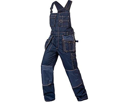 Arbeitslatzhose mit Kniepolster Herren Blau 35% Baumwolle 65% Polyester strapazierfähig Mischgewebe Jeans (Strauß Denim)