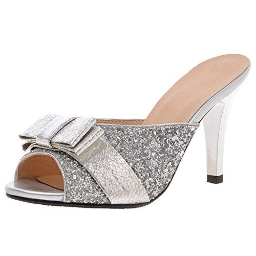 AIYOUMEI Damen Glitzer Peep Toe Stiletto High Heels Pantoletten mit Schleife Bequem Modern Pailletten Sandalen Silber