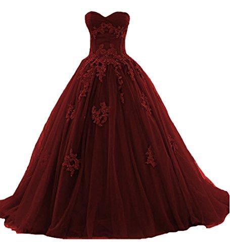 O.D.W Frauen Appliques Spitze Vintage Hochzeitskleider Formales Lange Gotisch Brautkleider(Burgund,...