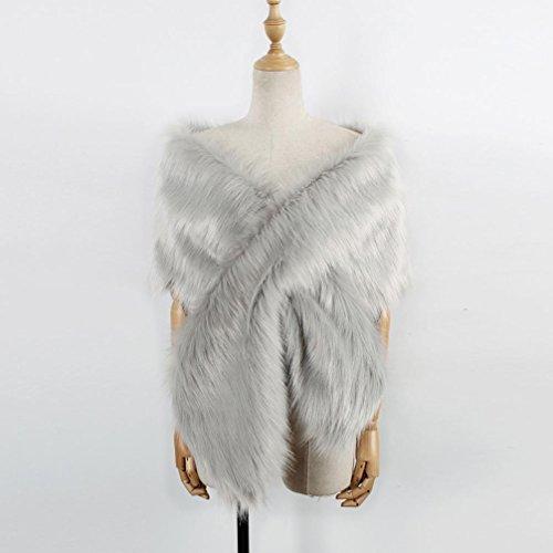 DOLDOA Fausse fourrure des femmes robe chale mariage nuptiale veste de manteau Gris