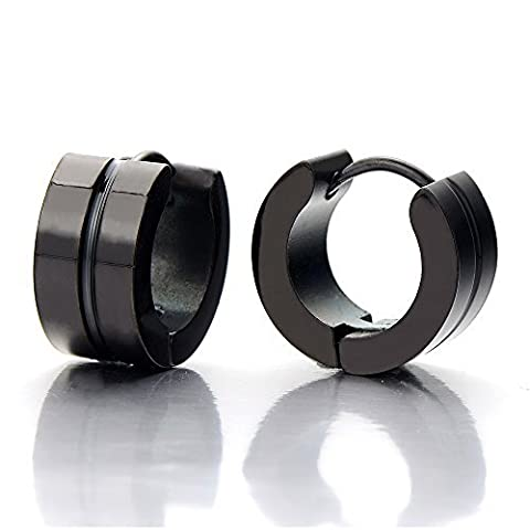 Pair Unisex Mens Women Black Huggie Hinged Hoop Earrings of Stainless Steel