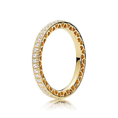 JIAXUN Ring 925er Sterlingsilber Einfach eingelegter Zirkonring Herzförmiger Ausschnitt Mode Damenaccessoires, Geburtstagsgeschenke, Valentinstagsgeschenke, Freundingeschenke -