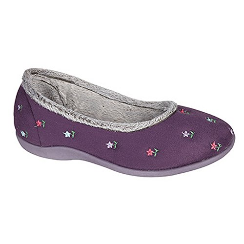 Sleepers - Angel - Pantofole Tipo Ballerina a Fiorellini - Donna Grigio