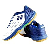 Yonex Men's Court Ace Matrix 2 Non Marking Badminton Shoes (White/Blue, UK-9)