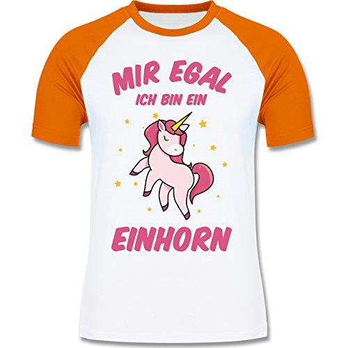 Einhörner - Mir Egal Ich Bin ein Einhorn - Herren Baseball Shirt Weiß/Orange