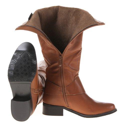 Ital-Design, Damen Langschaft Stiefel Beige - Camel