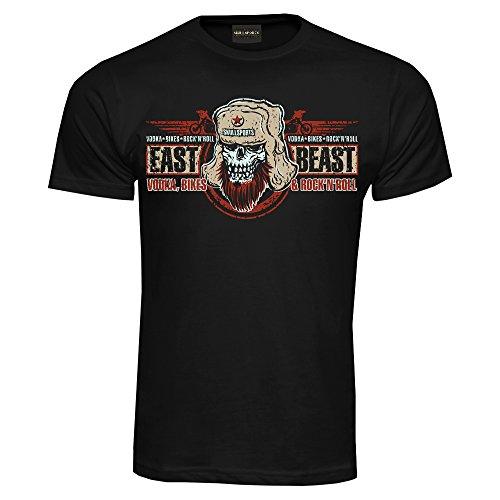 King Kerosin Skullsports T-Shirt East Beast Schwarz (3XL) (Gun Tattoo Aufkleber)