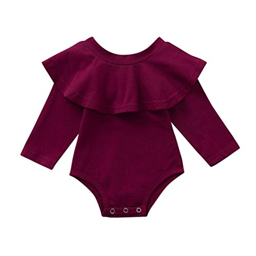 PAOLIAN Monos para bebé niñas Manga Larga Otoño Invierno 2018 Mameluco Bebe niña recién Nacidos bautiz Fiesta Hombro Descubierto Conjuntos Ropa para bebé Niñas de 6 Meses 12 Meses 18 Meses 24 Meses