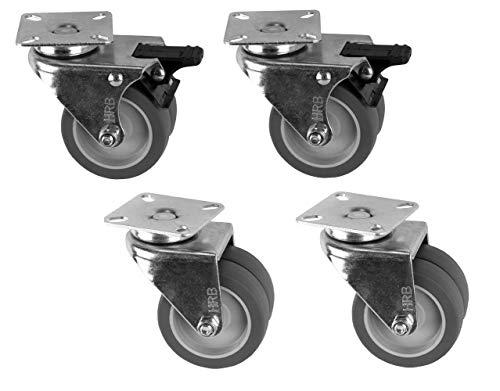 4 Stück 75 mm Doppel Lenkrollen davon 2 Stück mit Bremse 100 kg Transportrollen Doppelrollen