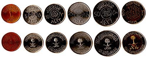 Saudi ARABIEN 6 MÜNZEN GESETZT 1963 UNC 1-100 Halala. ALTE AUSLÄNDISCHE MÜNZEN, SAMMLER MÜNZEN FÜR IHRE MÜNZENALBUM, Inhaber DER MÜNZE ODER Medaille Sammlung (Der Münzen Welt Gold)