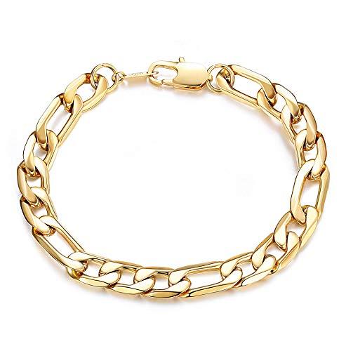sailimue 6mm/9mm Breite Edelstahl Armband für Männer Frauen Figaro Kette Armband am Handgelenk Silber/Gold Ton (Frauen Link-armband Cuban Für)
