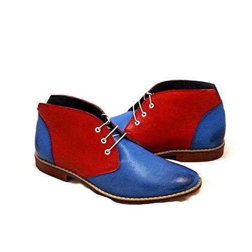 PeppeShoes Modello Padova - 45 - Handgemachtes Italienisch Bunte Herrenschuhe Lederschuhe Herren Blau Stiefeletten Chukka Stiefel - Rindsleder Weiches Leder - Schnüren -