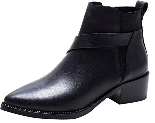 ELEHOT Donna Elefit tacco a blocco 4CM Leather Stivali, nero,