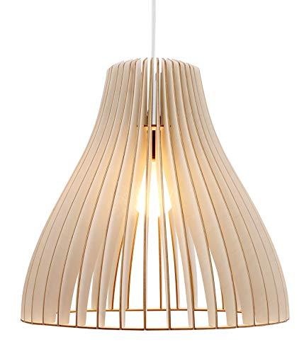 wodewa Pendelleuchte Holz I Moderne Deckenleuchte Nubes Weiß I Natürliche Deckenlampe Birkenholz I Holzlampe höhenverstellbar LED E27 -