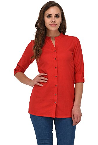 Pistaa women's Yellow Solid Cotton Short Top Kurti (Red, 50 - 4X-Large)