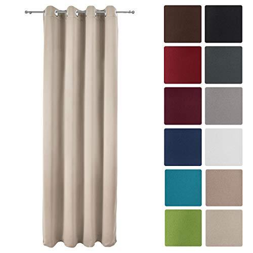 Beautissu tenda oscurante con occhielli serie amelie bo - 140x245 cm - crema - per finestre e balconi