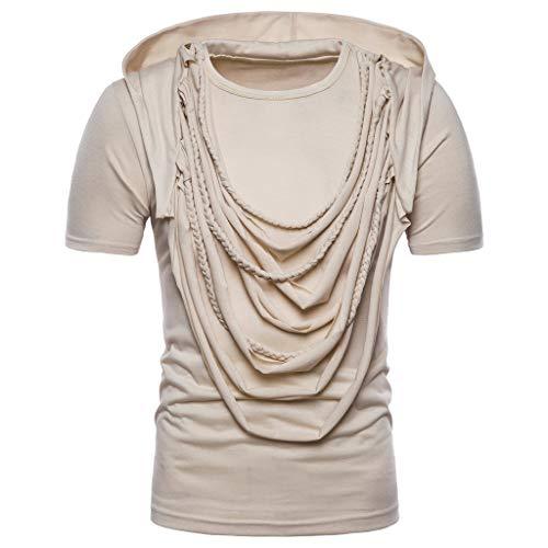 ❤AG&T❤ Herren Top ╬╬ Sommer Mode schlank Hoodie Hip Hop Kurzarm Falten T-Shirt Lässige Bluse