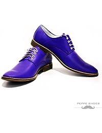 Modello Acireale - 41 EU - Cuero Italiano Hecho A Mano Hombre Piel Azul Marino Zapatos Vestir Oxfords - Cuero Cuero Suave - Encaje