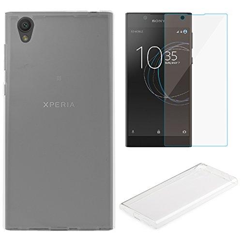 Hülle Sony Xperia L1 + Panzerglas, EUGO Bumper Premium Transparent TPU Silikon Handyhülle für Sony Xperia L1
