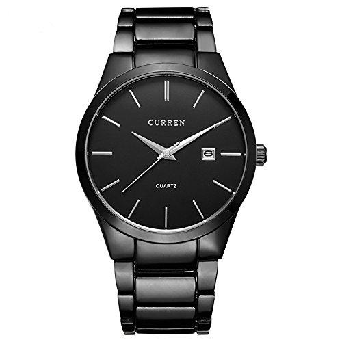 Randon Herren-Quarz-Analoguhren, wasserdicht, klassisches Design mit Kalender, aus Edelstahl, schwarze Armbanduhr