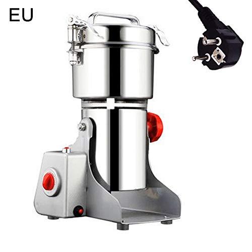 HshDUti EU Stecker Grinder Crusher Elektrische Hochgeschwindigkeits Kornmühlen Getreide Kräuter Pulverisierer Mahlwerk Brecher Schleifer Silver *EU Plug
