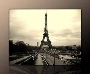 Toile de la Tour Eiffel sur châssis à clés Noir/blanc 70 x 90 cm