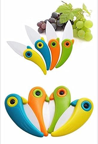 Vinallo 4pcs Mini Bird Poche en céramique Couteau pliant de cuisine Fruit couteau à légumes avec manche ABS