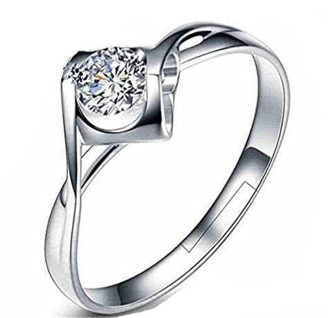 Ringe Damen Verstellbare 925 Silber Herz mit Zirkonia für Partnerringe Freundschaftsringe Hypoallergen Schwanz Ring