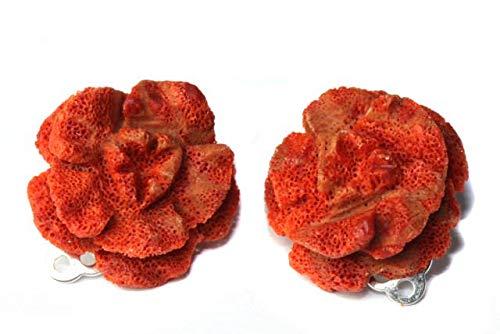 Pendientes clip rosetas 20 mm plata 925, coral espuma