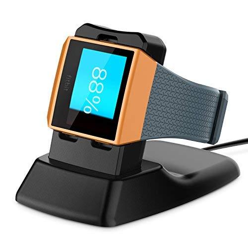 Fitbit Ionic Cargador, Basstop Accesorios de muelle de carga inalámbrico Soporte de carga Soporte de cuna para Fitbit Ionic Smart Watch –Negro