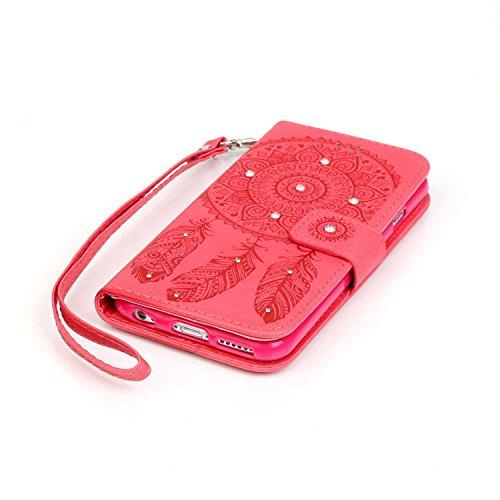 Custodia iPhone 7,Cover iPhone 7, YingC-T Elegante 3D Creativo di Goffratura Campanula Dreamcatcher Puro Oro Custodia in PU pelle Stampata Diamanti Glitter Bling Brillantini Rigida Disegno Premium di  Rosso