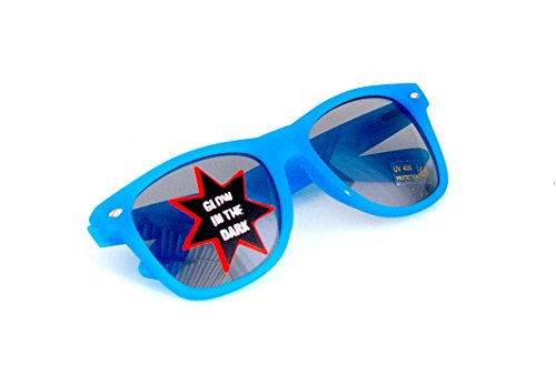 Nerd-Brille leuchtend Blau Sonnen-Brille 15cm Herren Damen Unisex Panto-Brille Lese-Brille Wayfarer...