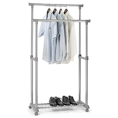 Garderobenwagen GROSSO Kleiderständer Rollgarderobe Garderobenständer , mit Schuhablage, 2 Kleiderstangen, höhenverstellbar, Metallrohr