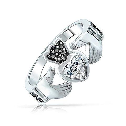Bling Jewelry Sterling Silver clair et noir onyx CZ Coeur Claddagh simulé Ring Gravure gratuite