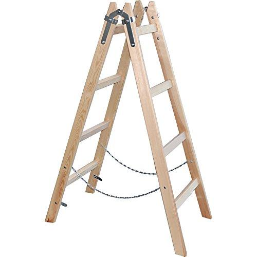 Holzleiter Leiter Stehleiter 130cm - 4 Sprossen - Malerleiter Holzstehleiter - DEWEPRO/x-tools