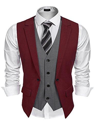 Burlady Herren Western Weste herren Anzug Weste Slim Fit Gilet Business Anzugweste für Herren A-Wine Red