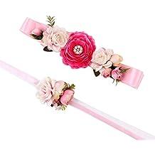 1098dac1e97a Queenbox® Frauen-elastischer breiter Taillen-Blumen-Gurt Blumen Armband Set  Mode Elastische