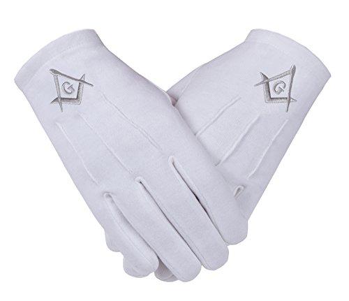 Freimaurer-Freimaurer-Weiß-Handschuhe 100% Baumwolle Square Compass (SC&G ) in Silber für Herren in Größe Large
