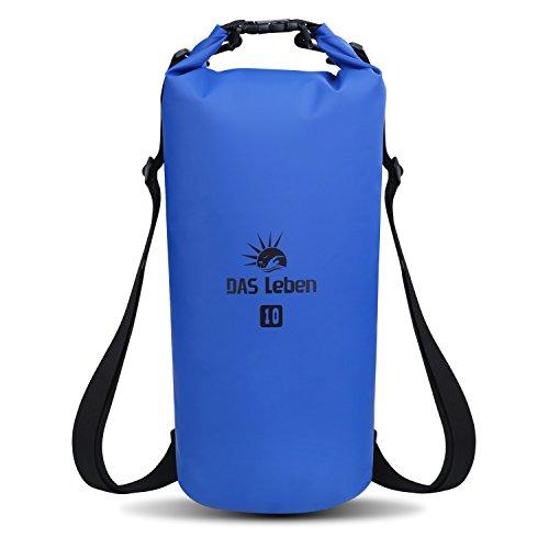 DAS Leben Trockentasche Dry Bag Wasserdichter Sack Wasserfester Packsack Rücksack Trockenbeutel ideal für Bootfahren / Kajakfahren / Angeln / Rafting / Schwimmen / Schwimmende / Camping - Schützt Telefon / Kamera / Kleidung / Dokumente von Wasser, Sand, Staub und Schmutz/5L/10/20L (blau, 10L) (Roll-top-dry Bag)