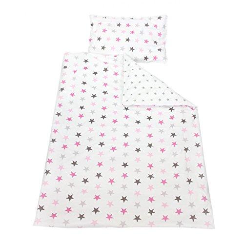 TupTam Kinder Bettwäsche Set Wendebettwäsche 100x135 2 tlg., Farbe: Sterne Rosa/Grau, Größe: 135x100 cm